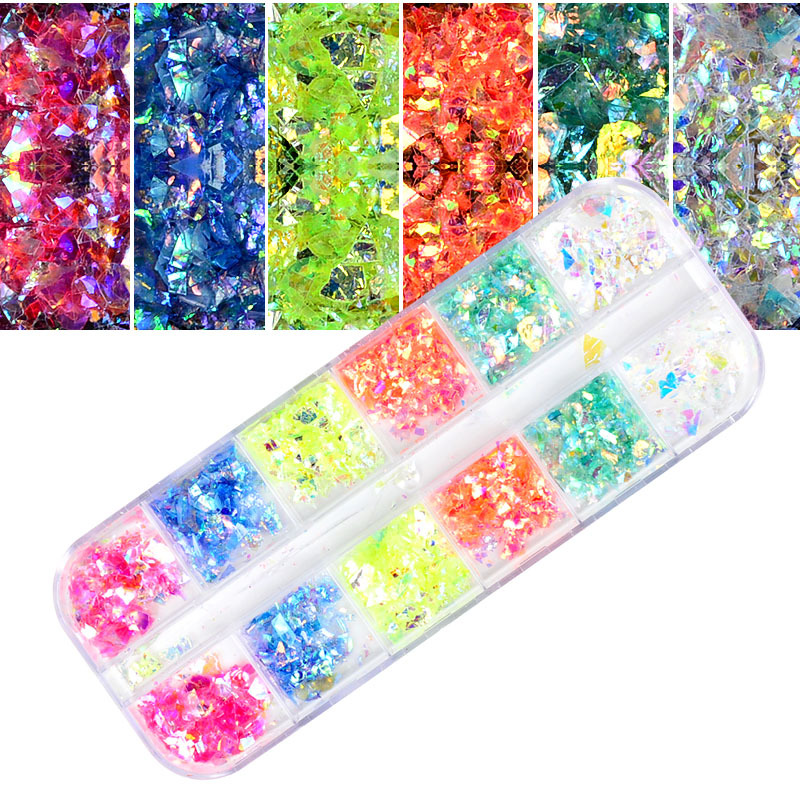 New Style Nail Jewelry Manicure Shell Pattern Star Adhesive Paper Star A Star Transfer Stickers 12 Grid Set