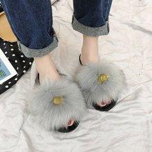 Liren 2019 New Fashion Real Fox Hair Slippers Flip Flops Summer Shoes Beach Slides Slip on Furry