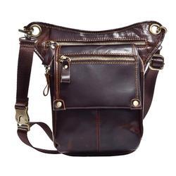 Mens Leather Drop Leg Bag Cross Body Messenger Shoulder Fanny Pack Waist Thigh Hip Bum Belt Travel Motorcycle Riding