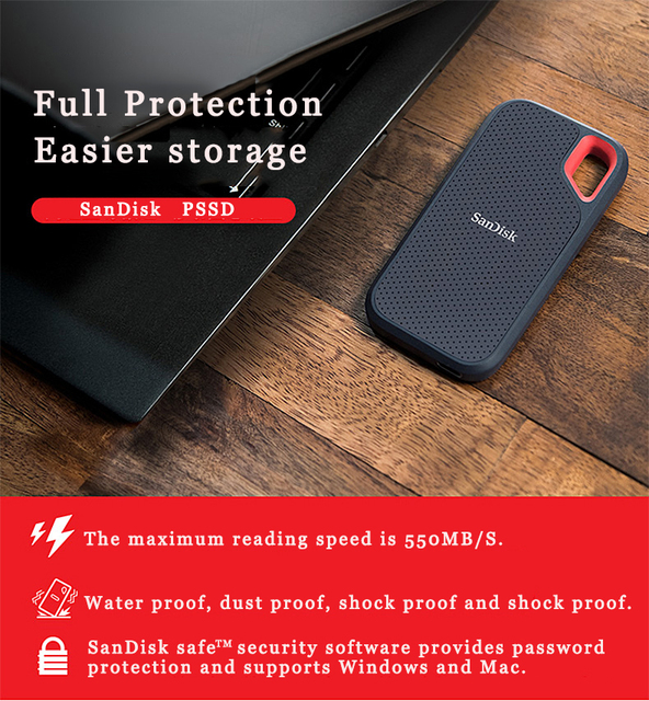 100%SanDisk Type-c Portable 1tb SSD 2tb 500GB 550M External Hard Drive USB 3.1 HD SSD Hard Drive Solid State Disk for Laptop 2