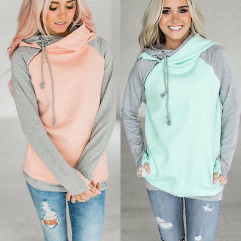 Patchwork Hooded Hoodies Sweatshirts EuropeTops 2019 Women Casual Kawaii Harajuku Kpop Sweat Punk For Girls Clothing Korean