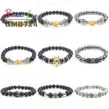 8mm Natuursteen Kralen Armband Zwarte Lava Hematiet Armbanden Voor Vrouwen Gebed Mannen Sieraden Elastische Dragon CZ Bileklik Pulseras