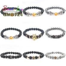 8mm pierre naturelle perles Bracelet noir lave hématite bracelets pour femme prière hommes bijoux élastique Dragon CZ Bileklik Pulseras