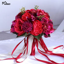 신부 들러리를위한 meldel 결혼식 꽃다발 신부 꽃다발 인공 결혼식 꽃 신부 꽃다발 결혼 공급 가정 훈장