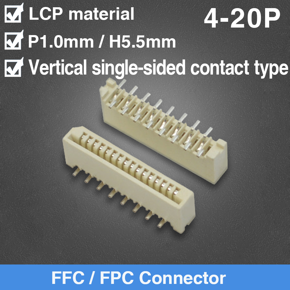 1mm Pitch Vertical Single Side Contact Type Socket FPC FFC Flat Cable Connectors 4/5/6/7/8/9/10/11/12/13/14/15/16/17/18/19/20Pin