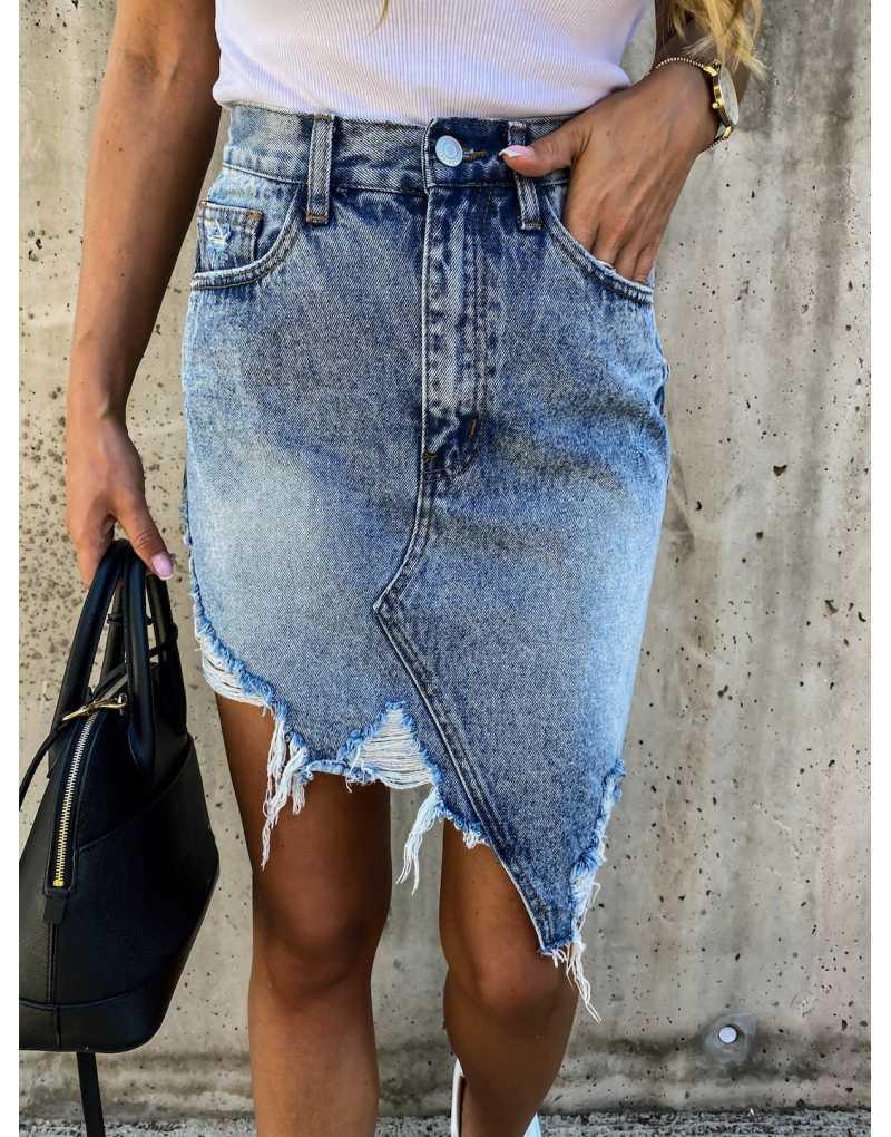 تنورة الدنيم عالية الخصر شرابة باردة قلم رصاص النساء 2020 جديد الصيف خمر مثير حفرة ممزق جيوب جميع المتطابقة الجينز تنورة