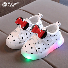 Size 21-30 Baby LED Shoes for Girls Anti-slippery Luminous Sneakers Breathable Glowing Casual Sneakers Girls Led Light Up Shoes cheap Mater Kom 13-24m 7-12y CN(Origin) Spring Autumn Lighted unisex Rubber COTTON Fits true to size take your normal size
