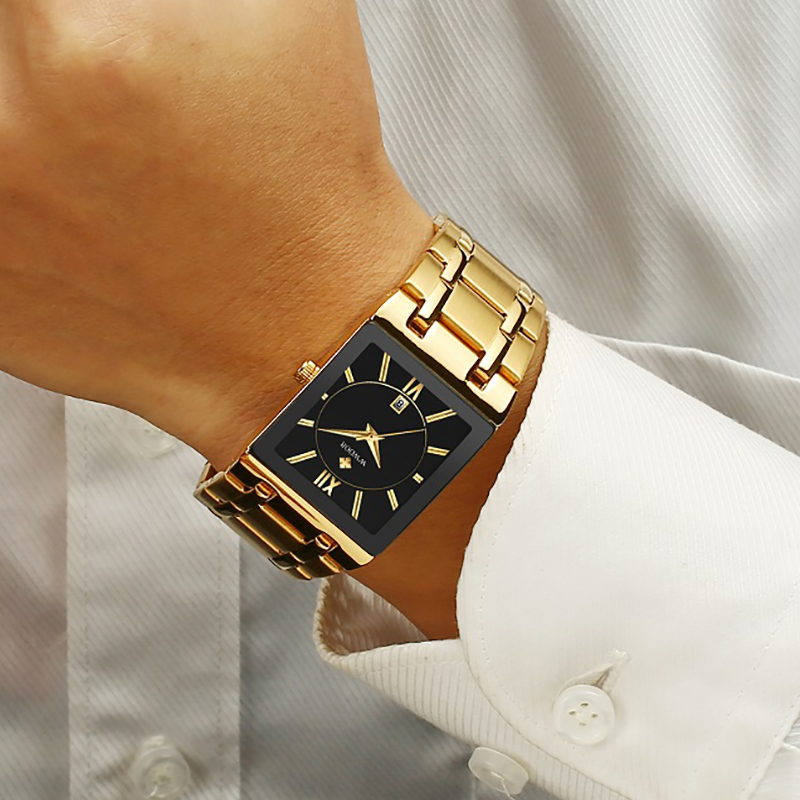 Luxury Men Watches Top Brand WWOOR Factory Shop Male Gold Black Square Quartz Watches Man Steel Belt Waterproof Wristwatch Men's
