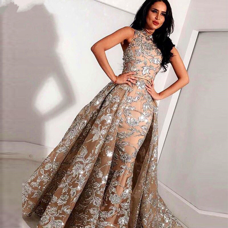 Elegant 2019 Muslim Evening Dresses Mermaid High Collar Appliques Lace Dubai Saudi Arabic Long Evening Gown Prom Dress