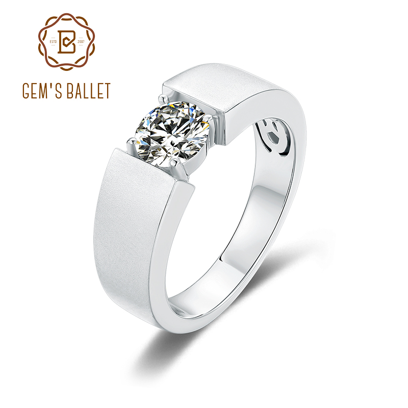 GEM'S BALLET 6.5mm Round Real Moissanite Antique 925 Sterling Silver Ring Solitaire Male Ring For Man Wedding Fine Jewelry