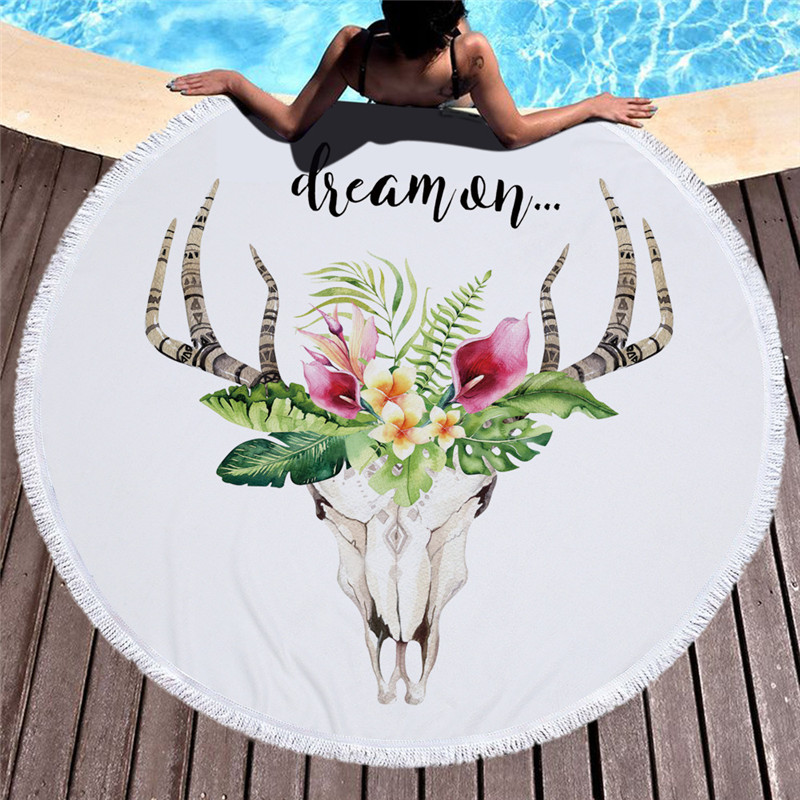 Blanc grand rond natation serviette de plage microfibre grandes serviettes de bain pour adultes avec gland Yoga tapis cerf impression tapisserie décor à la maison