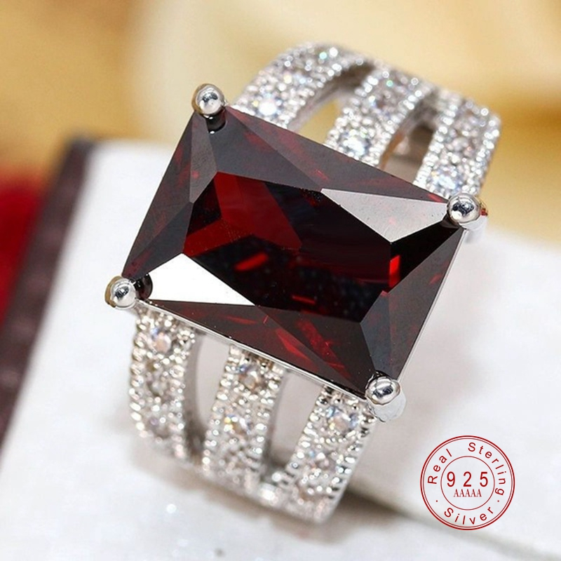 Red AAA Cubic Zircon Rings For Women Genuine Silver color Crystal Filled Bague Femme  Luxury Punk Hollow Out Ring Jewelry|Rings|   - AliExpress