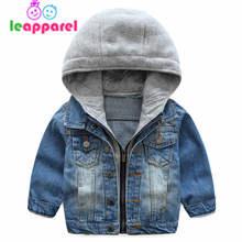 LEAPPAREL Boys Denim Hooded Fall-Winter Jackets Boys Coat Kids Outerwear Coats For Boys Clothes Children Jacket 2-6 Year boys letter print destroyed hooded denim jacket