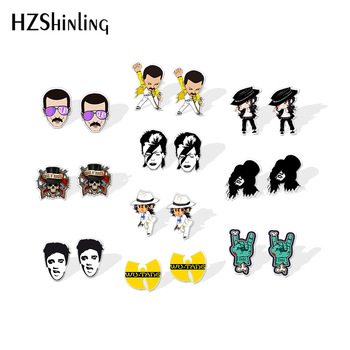 2020 New Rock and Roll Stud Earring Elvis Presley Acrylic Earrings Shrinky Dinks Handmade Epoxy Jewelry - discount item  35% OFF Fashion Jewelry
