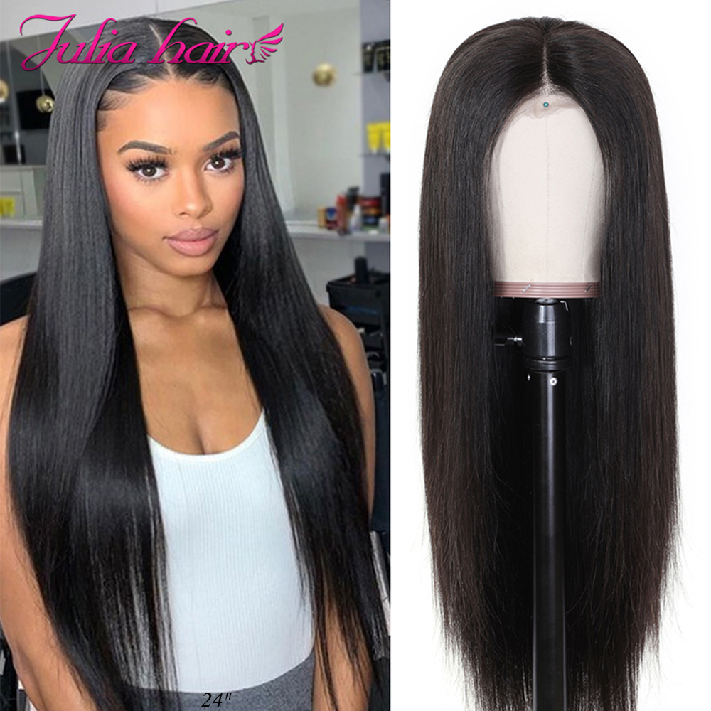 Wig Human-Hair-Wigs Lace Closure Deep-Part Lace-Front Ali-Julia Pre-Plucked Straight