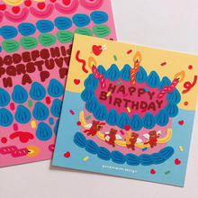 Sticker Bear Blessing-Card Decorative Korean Cute DIY Cartoon Cake Letter Gift Birthday