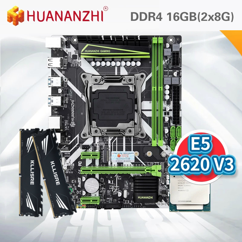 HUANANZHI X99 материнская плата с Ксеон E5 2620 V3 2*8G DDR4 2666 NON-ECC памяти комбинированный комплект NVME USB3.0 блок питания ATX сервер