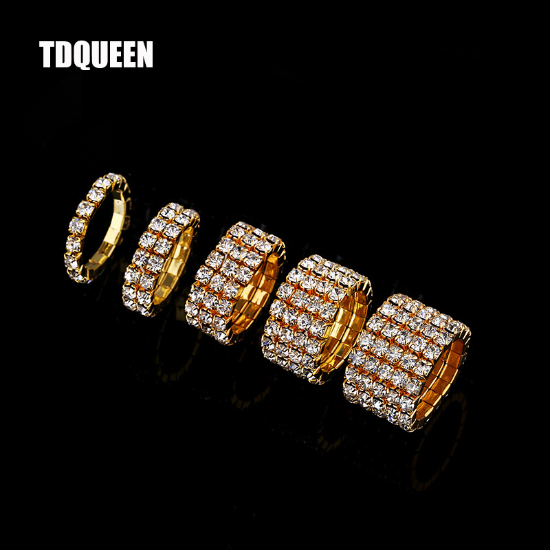 1-5 Rows Gold Color Rings Bridal Wedding Bands Crystal Rhinestone Stretch Finger Rings for Women(China)