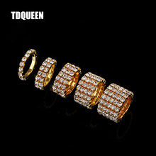1-5 Rows Gold Color Rings Bridal Wedding Bands Crystal Rhinestone Stretch Finger for Women
