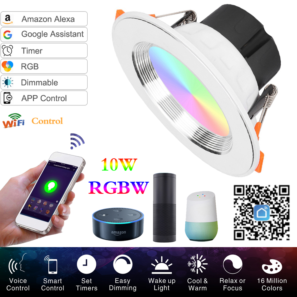 LED Downlight Ceiling Silvery 10W RGBW +Cold White Led Light AC 220V 120V APP Control WIFI Smart Downlight Timing Lights