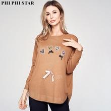 лучшая цена Phi Phi Star Sweet Lover design Women Sweater long Full Sleeve Loose Sweater tops femininas Fashion Jumpers Sweater clothes