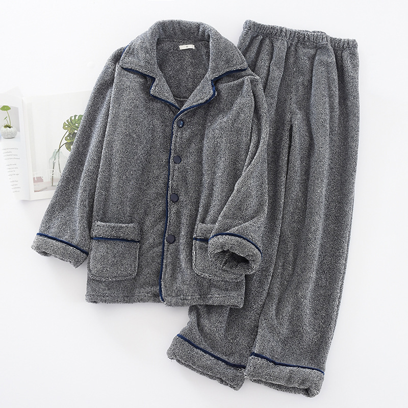 Men'S New Thickened Flannel Long-Sleeved Trousers Solid Pajamas Suit Large Size Loose Large Size Cardigan Home Service Sleepwear