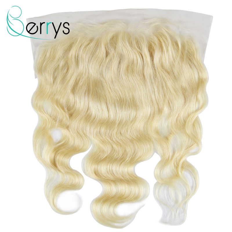 Berrys włosów ludzkich włosów koronki przednie zapięcie 13x6 613 blond Frontal ciało fala Virgin przejrzyste koronki 150% gęstości darmowa wysyłka