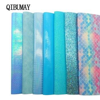 QIBU azul PU cuero grueso brillo tela sirena brillante Multi tamaño DIY pelo arco tela hecho a mano bolsos zapatos accesorios cuero