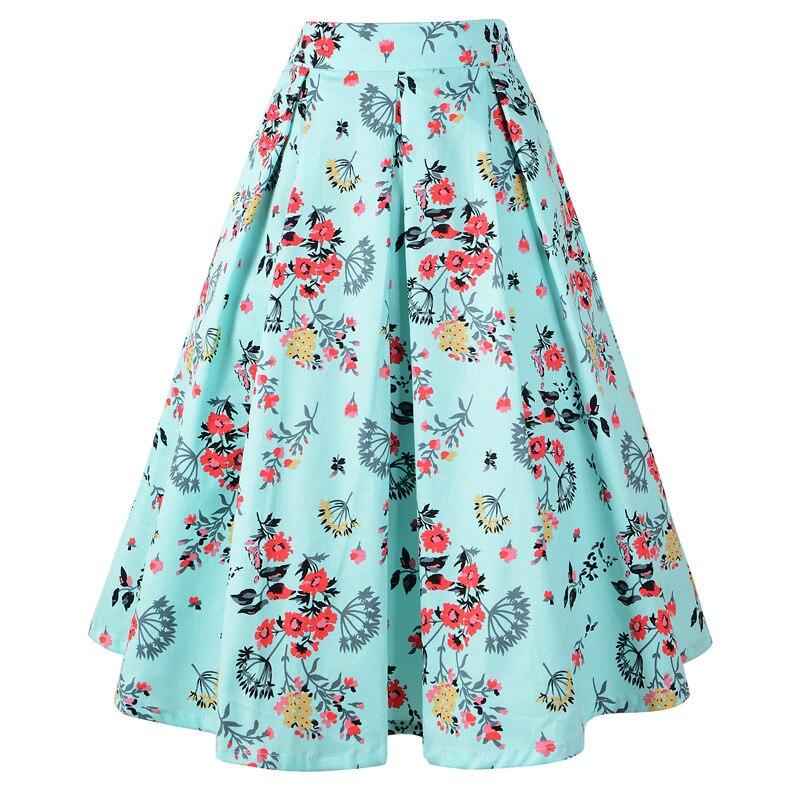 Retro Print Skirt Women Summer Beach Casual Floral Skirt Female Summer Holiday Ladies Skirts