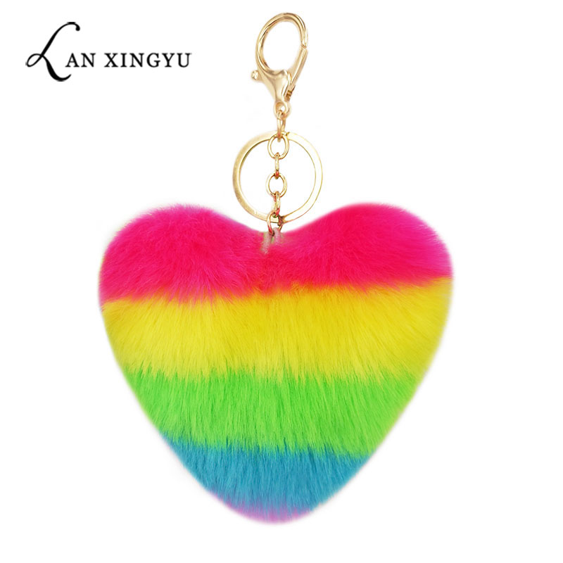 Heart Pompoms Keychain Rainbow Plush Balls Key Chains Decorative Pendant For Women Bag Accessories Keychains Car Fashion Keyring