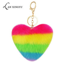 Heart Pompoms Keychain Rainbow Plush Balls Key Chains Decorative Pendant for Women Bag Accessories Keychains Car Fashion Keyring(China)