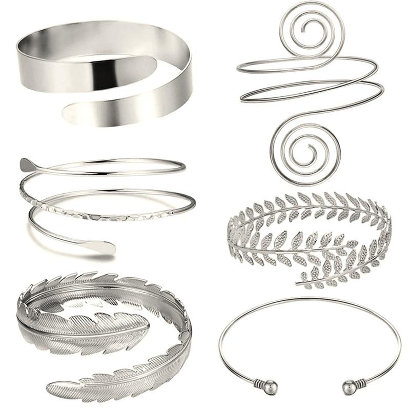 6 Pieces/Set Arm Bracelet for Women Girls Gold Color Mental Open Upper Arm Bangle Bracelet Simple Adjustable Armlet Armband Set