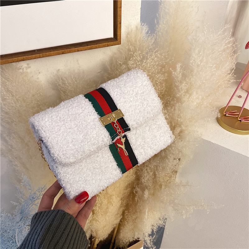 Explosion Models 2020 New Women's Bag Popular Soft Small Square Bag Fawn Pendant Shoulder Oblique Cross Plush Women's Bag