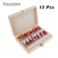 Krachtige 15Pcs Router Bit Set Tungston Carbide Rotary Tool Wood Woodworking- 1/4 inch/1/2 inch Shank