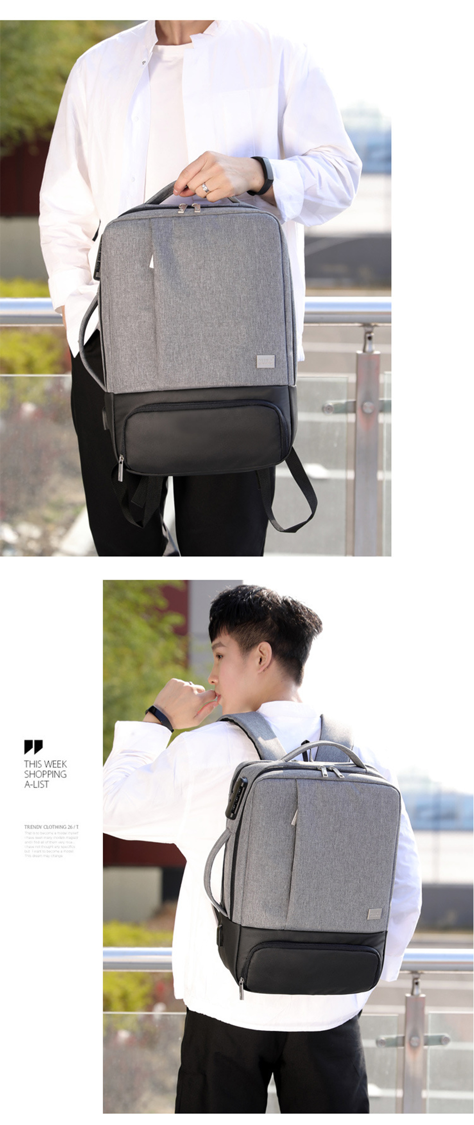 Mens Backpack Laptop Backpacks 17 Inch 15.6'' Anti Theft Male Business Bags Notebook Trip Back Pack Office Women Travel Bagpack (21)