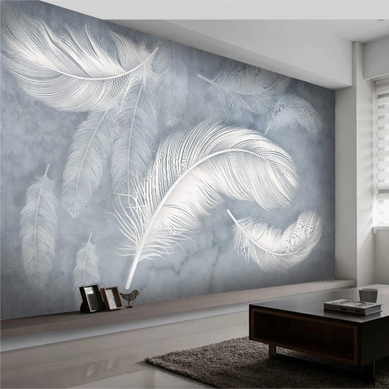 Modern Fashion Feather Wallpaper 3D Hand-Painted Photo Wall Mural Living Room Bedroom Luxury Creative Art Wallpapers Papel Mural