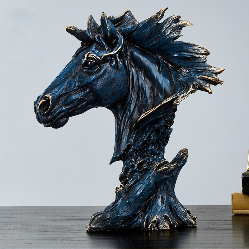 Horse Head Statue Home Decor Resin Figurine Creative Animal Horse Art Sculpture Decoration Resin Nordic Home Decoration Just6F