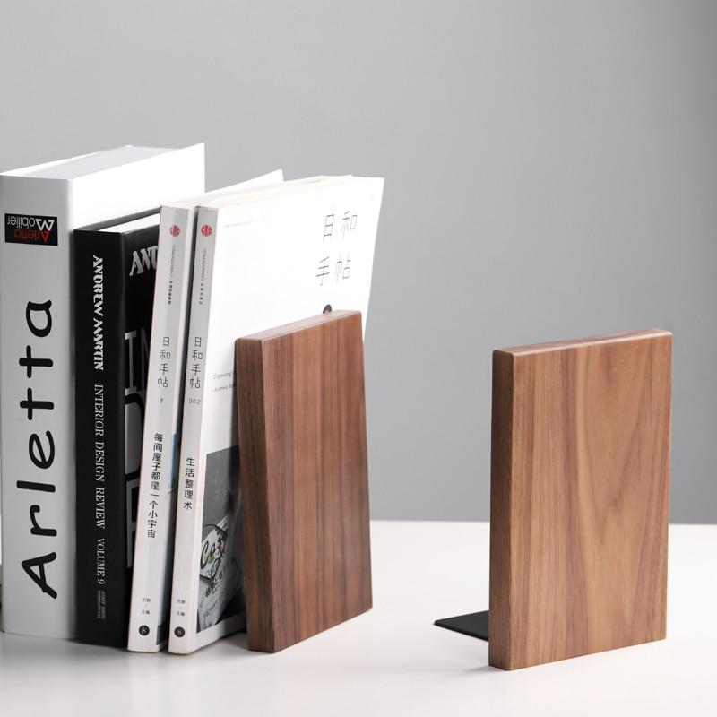 Créatif noir noyer organisateur de bureau serre-livres fichiers/Magazines titulaire livre étagère Eco bois naturel maison stockage