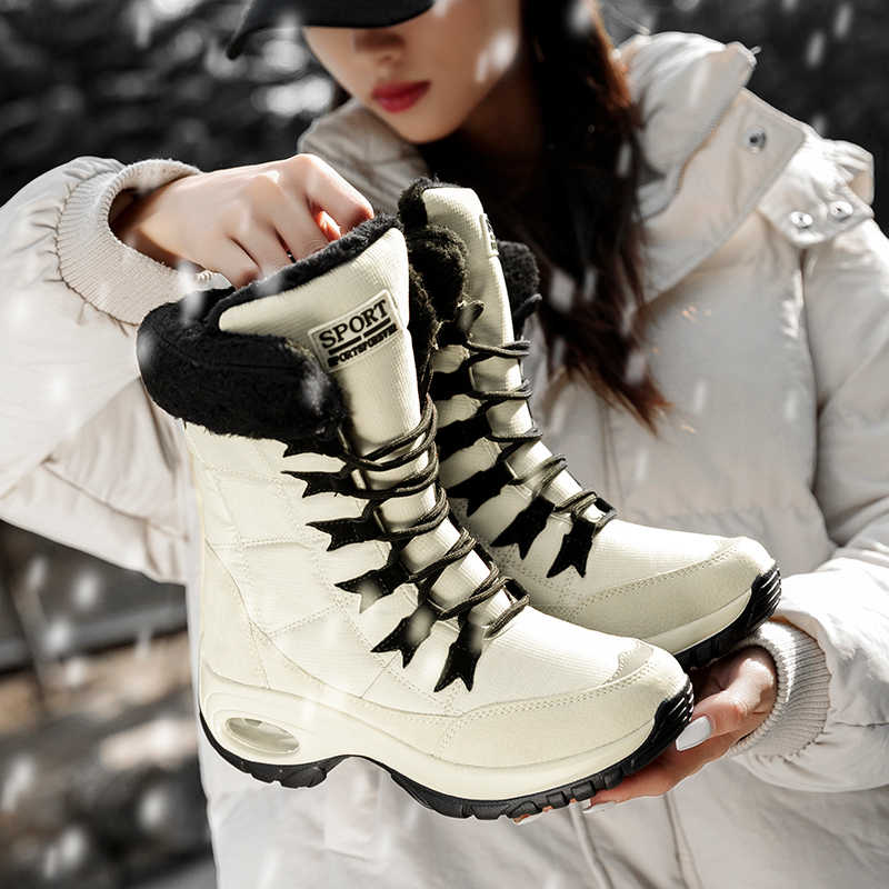 Inverno Caldo Stivali Donna Stivali Da Neve Impermeabili Delle Donne di Spessore Inferiore di Spessore Racchette Da Neve Peluche di Grande Formato 42 Scarpe Donna Scarpe 36-42