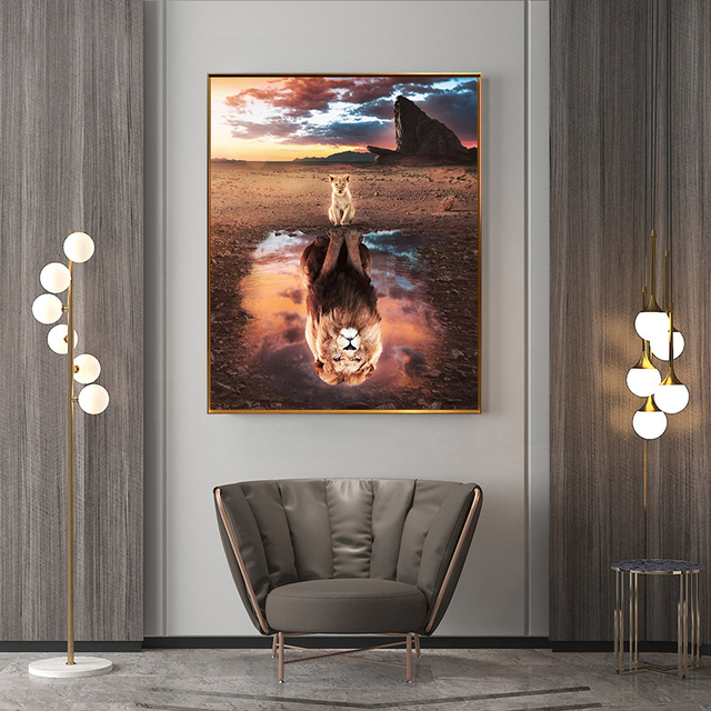 A Lion Cub Sees Himself Big Painting Printed on Canvas 1