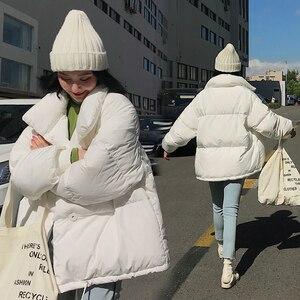 Image 2 - Hiver mode femmes parkas vers le bas coton veste rembourrée chaud épais ample surdimensionné soild ouaté vestes femme décontracté pain manteaux