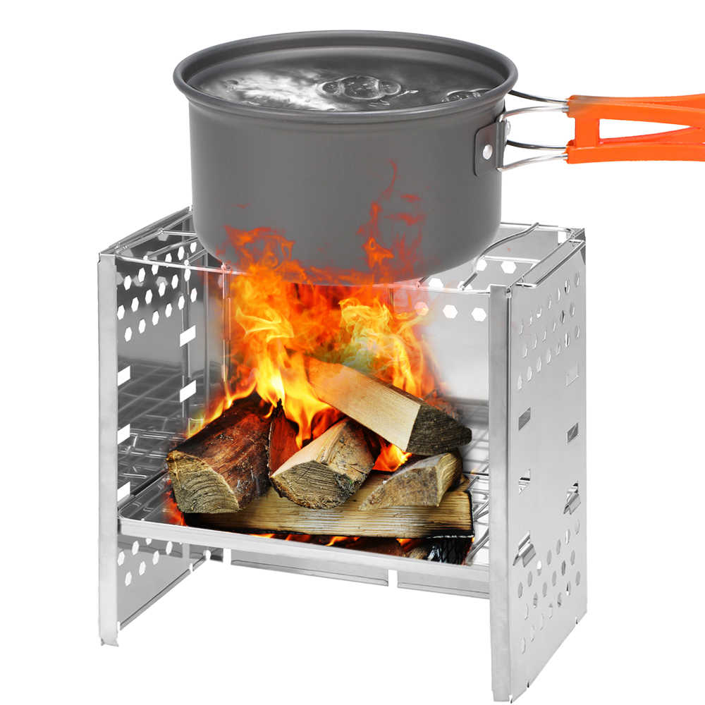 Wood Burning Camping Stove folding Barbecue Cookware Grill BBQ Durable Stainless