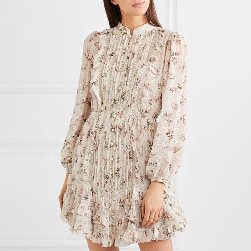 KAMIYING imprimé fleur Vintage la robe femmes col montant à manches longues taille haute à lacets volants Mini robes