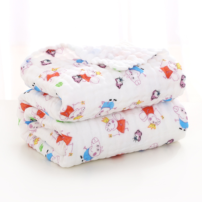 Baby Bath Towel Six-layer Gauze Without Fluorescent Agent Crib Multifunctional Child Blanket for Newborn