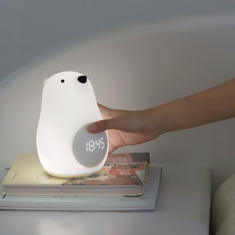 Led Night Light Bear With Wake Up Clock Rechargeable Portable And Dimmable Touch Sensor Great Gift For Child Festival