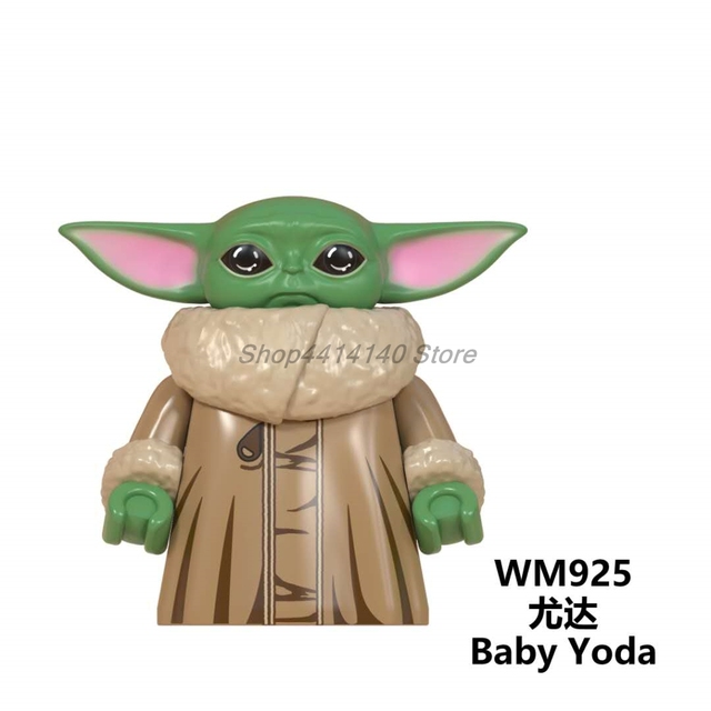 단일 Starwars 아기 Yoda Mandalorian 인물 ren 스타 워즈의 기사 빌딩 블록 벽돌 교육 완구 어린이를위한