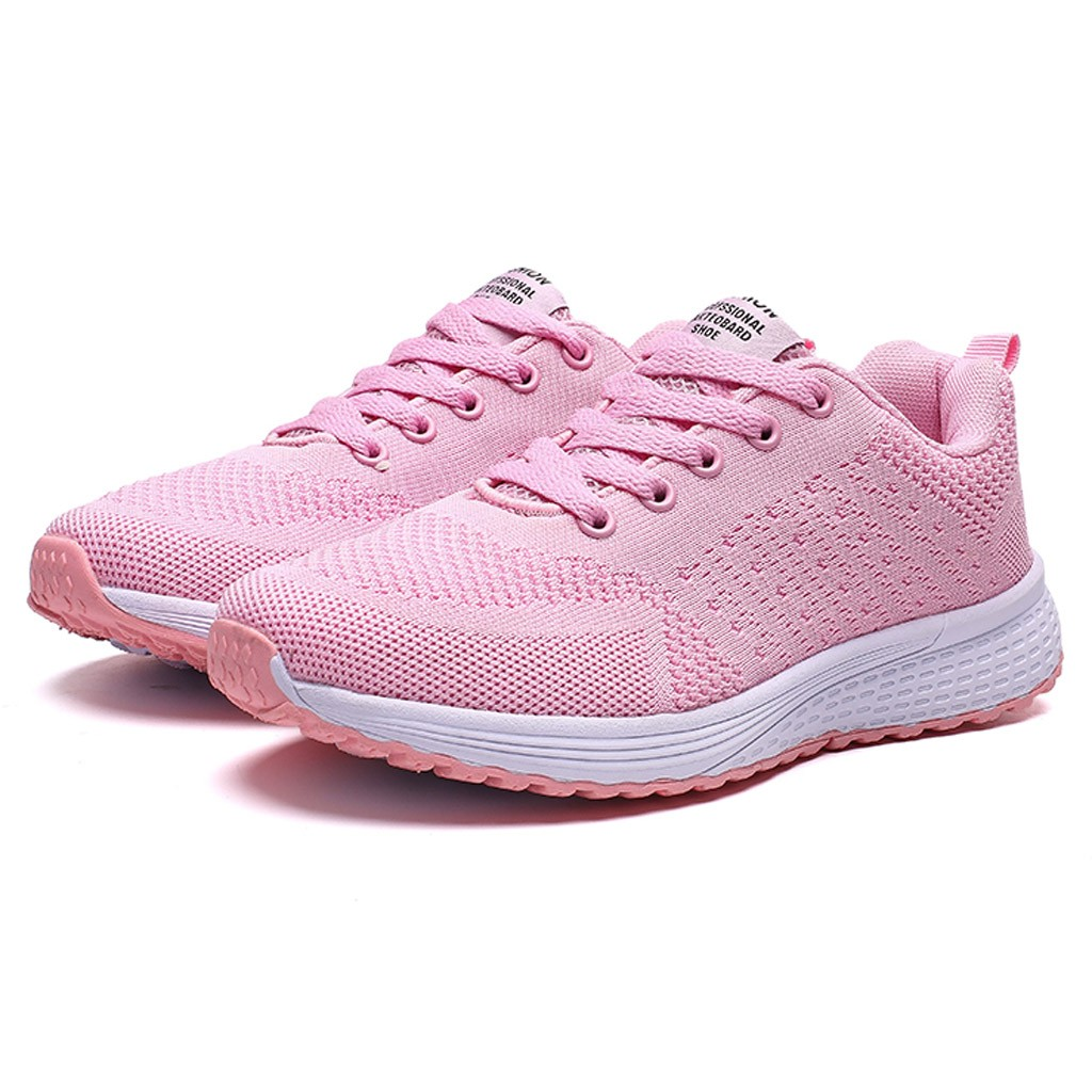 Women's Orange Running Shoes Fashion Casual Breathable Flying Woven Shoes Mother Walking Sport Sneakers For Student