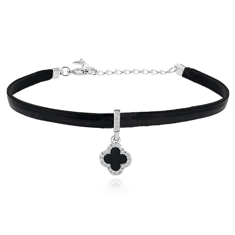 Elegant Chokers Necklace Artificial Black Leather Acrylic Alloy Crystal Product Fashion Fall Joker Woemn Necklaces