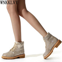 Martin-Boots Rhinestone Women Luxurious Runway Crystal Thick Sole Ankle-Botas Ladies