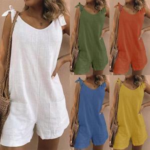 2020 summer Women's Jumpsuit Solid Color Sleeveless Adjustable Straps Pockets Loose Jumpsuit Dungarees Short Pants Jumpsuits